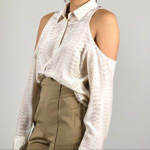 Equipment white pattern shoulder cut-out top